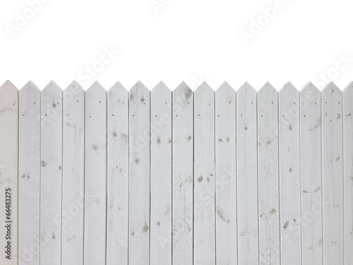 White wooden fence isolated on white background with copy space Tableau sur Toile