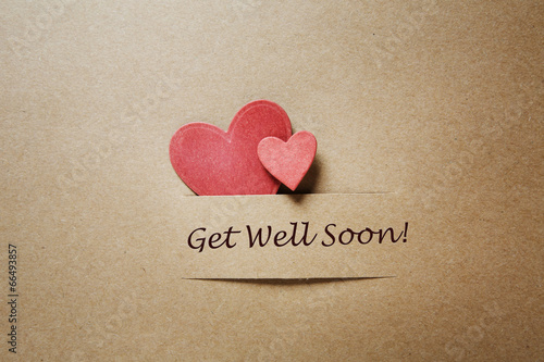 Vászonkép  Get Well Soon message with red hearts
