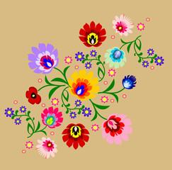 Traditional Polish floral folk pattern vector