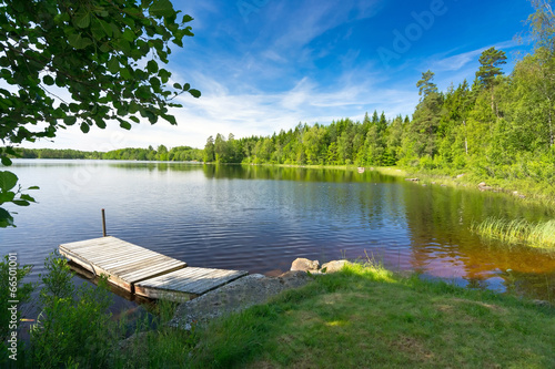 Obraz Summer Swedish lake in morning light - fototapety do salonu