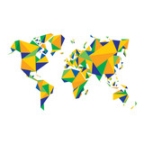 Abstract World Map - illustration in color of Brazil flag.