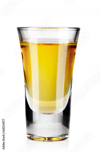 Valokuva Gold tequila shot isolated on white