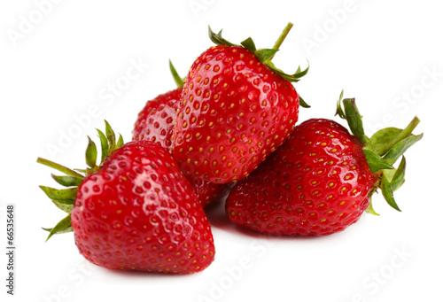 Foto op Aluminium Vruchten Red ripe strawberries, isolated on white