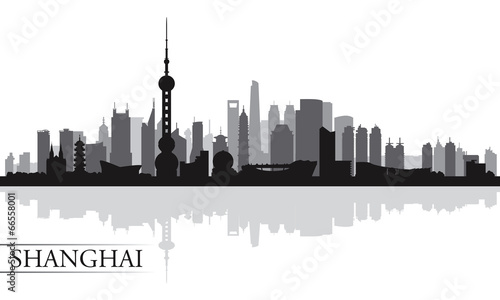 Shanghai city skyline silhouette background Wallpaper Mural