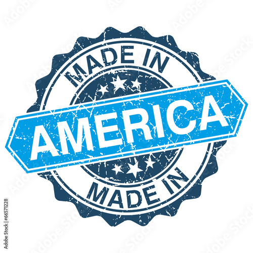 Made in America vintage stamp isolated on white background Poster