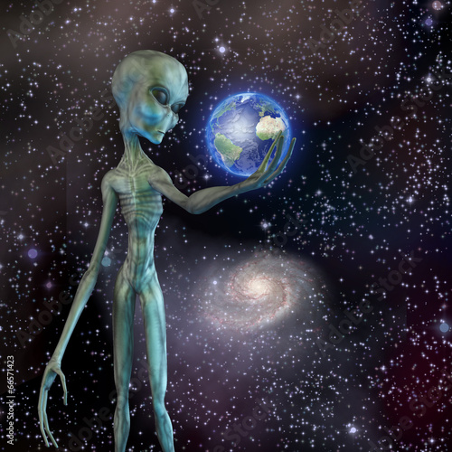 Fotografie, Obraz  Alien being ponders earth