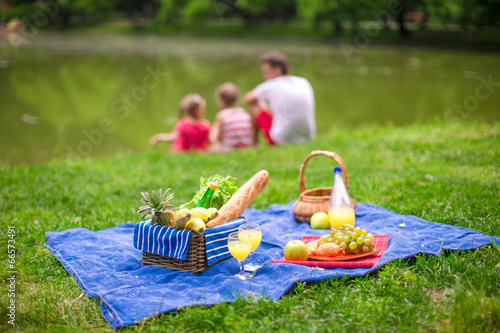 Staande foto Picknick Picnic basket with fruits, bread and bottle of white wine