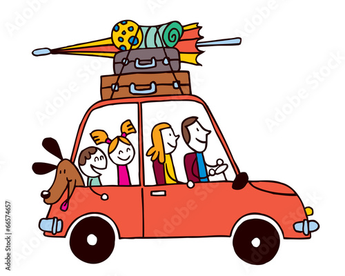 Staande foto Cartoon cars Family of four vacation, Car with luggage travel illustration