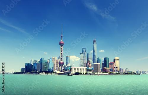 Photo Stands Shanghai Shanghai skyline and sunny day