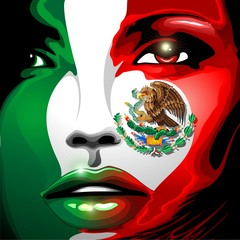 Mexico Flag Girl Portrait