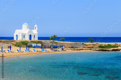 Spoed Foto op Canvas Cyprus A church on a shore near Protaras, Cyprus