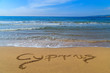Cyprus written on sandy Golden Beach near Polis, Cyprus