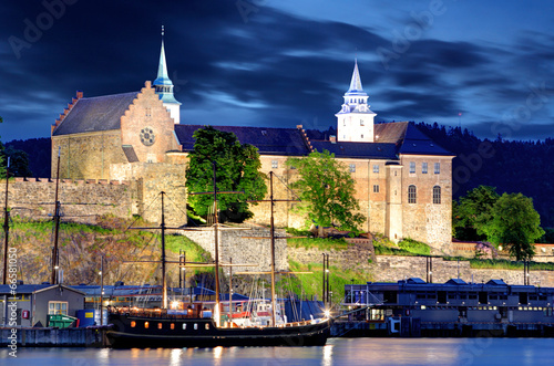 Canvas Print Akershus Fortress at night, Oslo, Norway