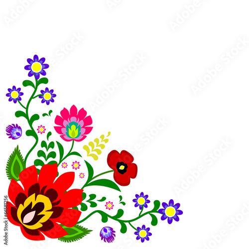 fototapeta na ścianę Polski wektor tradycyjny słowiański folk kwiatowej dekoracji narożnik