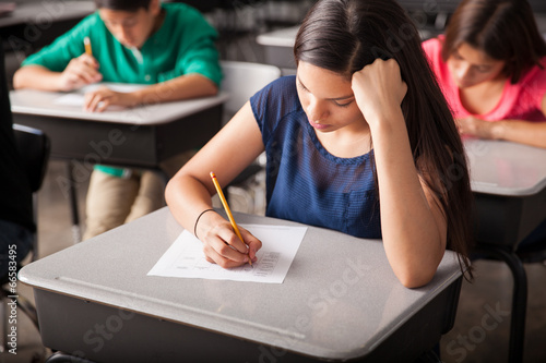 Taking a test in high school Poster