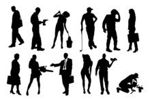 Vector Silhouettes Of Differen...