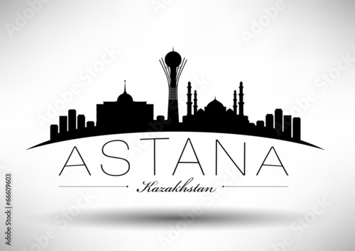 Photo City of Astana Typographic Skyline Design