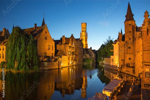 Deurstickers Brugge Brugge - View from the Rozenhoedkaai in the evning dusk.