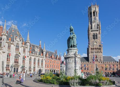 Stickers pour portes Bruges Brugge - Grote markt with the Belfort van Brugge