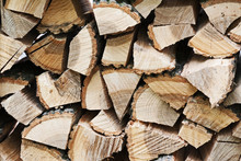 Dry Chopped Firewood Logs In Pile.