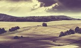 Beautiful landscape with fields and hills vintage style