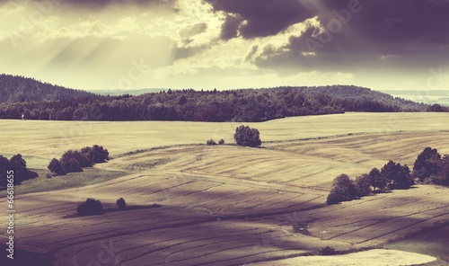 Foto op Aluminium Aubergine Beautiful landscape with fields and hills vintage style