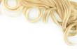 Leinwanddruck Bild - Curly blond hair close-up isolated on white