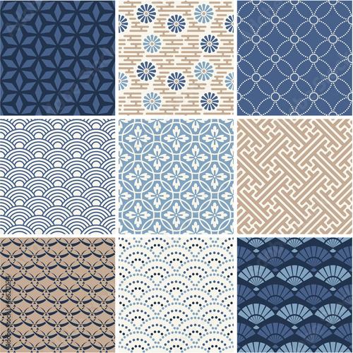 Poster Kunstmatig Japan seamless pattern collection