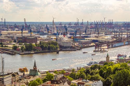 Photo  Hamburger Hafen von oben Luftaufnahme