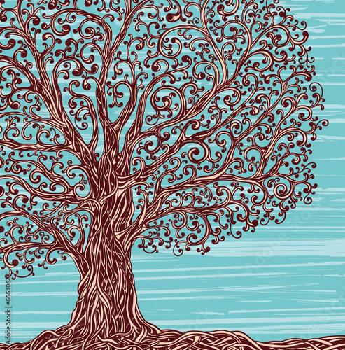 Fotografie, Obraz  Old twisted grafic tree