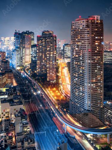 Foto auf AluDibond Tokio Tokyo bei Nacht