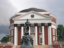 University Of Virginia Rotunda With Thomas Jefferson Memorial