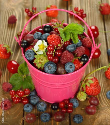 Poster Fruit Various berries in a bucket