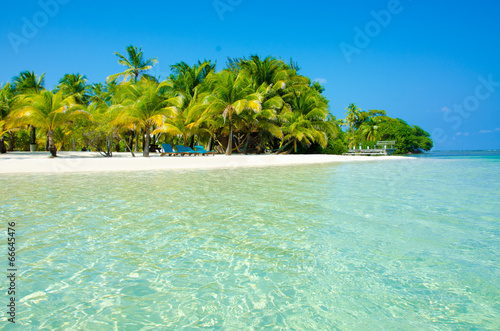 Paradise Beach on beautiful island South Water Caye - Belize Canvas Print