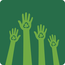Recycle Design. Hands With Recycle Symbol.