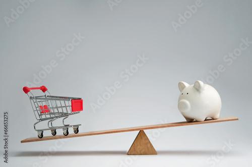 Fotografia, Obraz  Money spendings against money savings