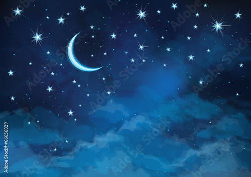 Obraz Vector night sky background stars and moon. - fototapety do salonu