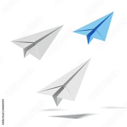Fototapeta with white paper airplanes and blue one obraz na płótnie