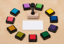 Rubber Stamp, Set Of Ink Pads ...