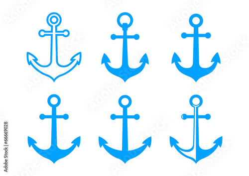 Blue anchor icons on white background Fototapeta