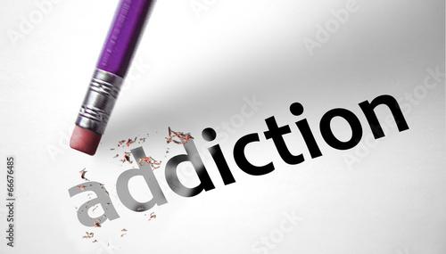 Photo  Eraser deleting the word Addiction