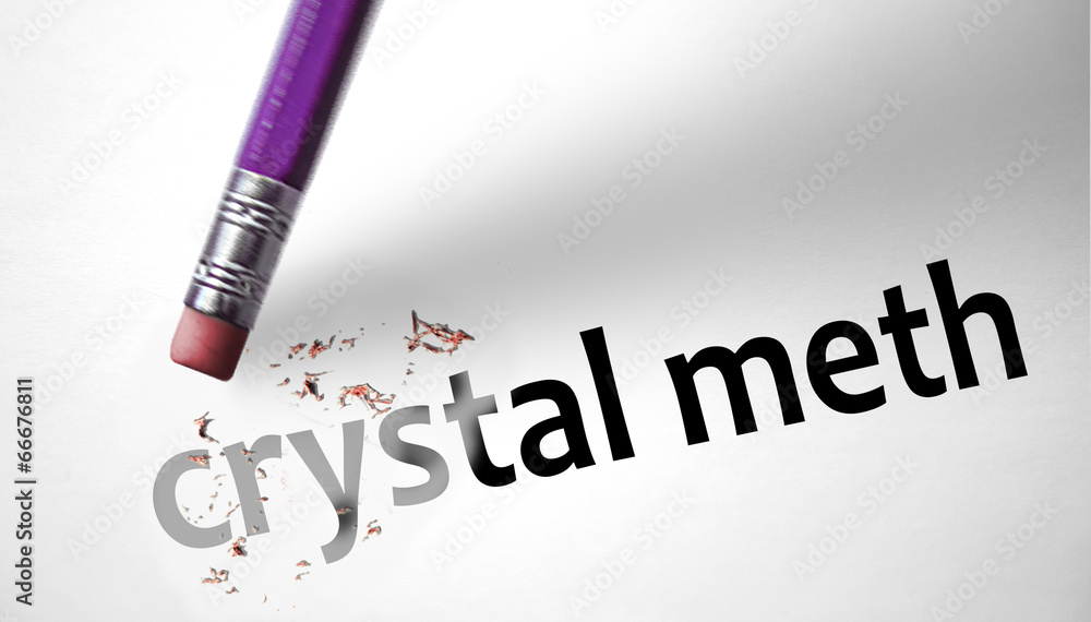 Photo  Eraser deleting the word Crystal Meth