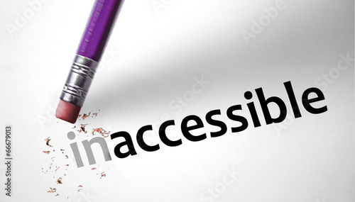 Valokuva  Eraser changing the word Inaccessible for Accessible