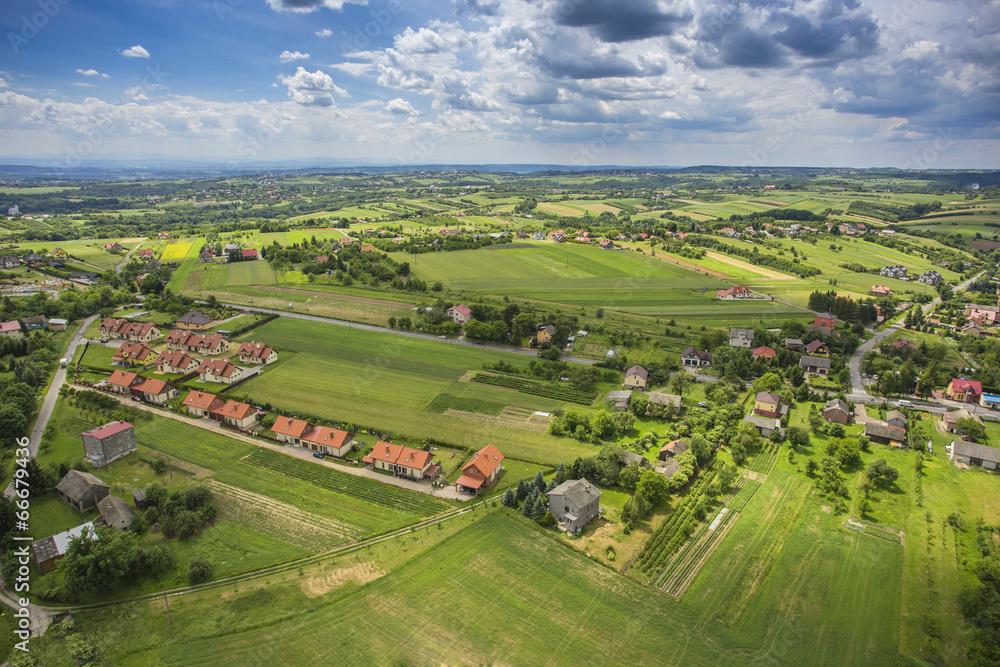 Fototapeta widok z lotu ptaka na wieś