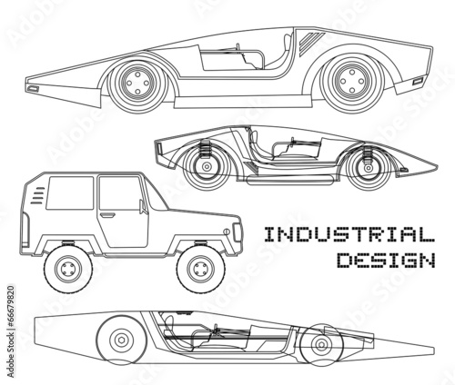 Staande foto Cartoon cars Tech car