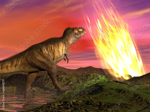 Fotografie, Obraz  Extinction of dinosaurs - 3D render