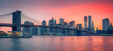 Fototapeta Panels - Brooklyn bridge and Manhattan at dusk