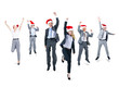 Group of Cheerful Business People Wearing Santa Hats