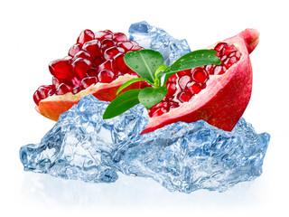 Pomegranate fruit with ice isolated on white background