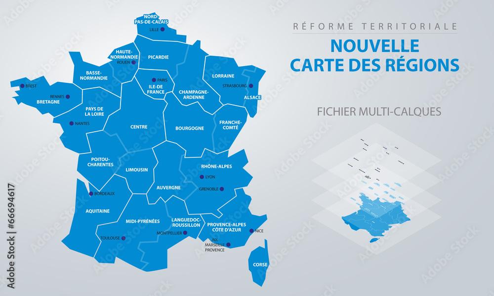 Fototapety, obrazy: Réforme territoriale - Nouvelle carte des régions